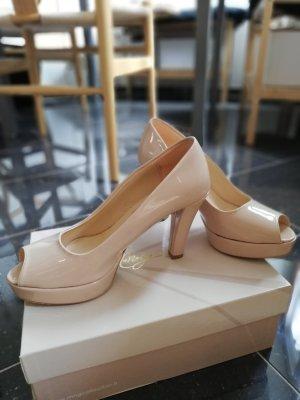 Italienische Peep-Toes-Plateau-Pumps - rosé glänzend - Größe 39