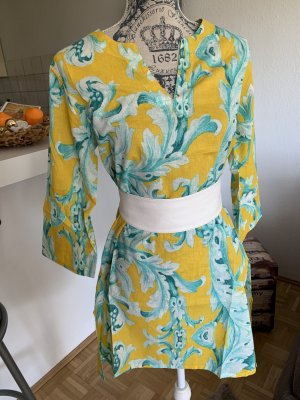Italienische(r) Kaftan/Bluse - Yellow/Türkis - Cotton - Größe S 34/36
