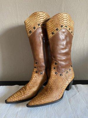 Botas estilo vaquero coñac-beige Cuero