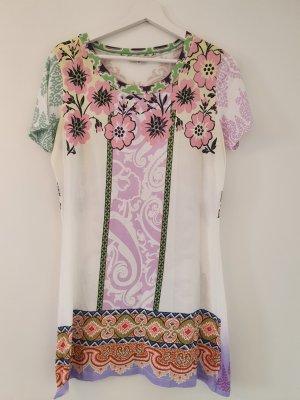 Italienisches Designerprodukt ( My Theresa ) - Jersey Kleid Longtop - Gr. 36 / 38 - gemustert bunt weiß rosa lila grün gelb