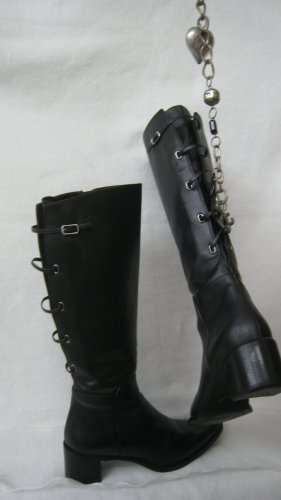 Gothic Boots black-silver-colored leather