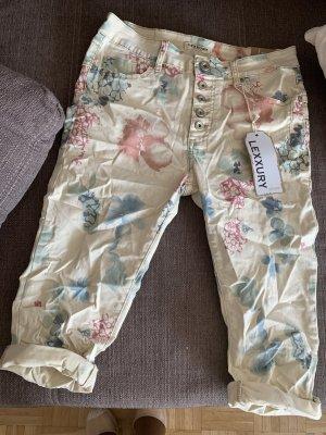 Italy Beige Capri Jeans + Color - CrashLook - Flower - Größe XL 42