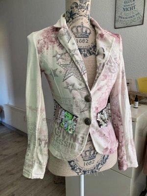 Italy Blazer - Tailliert - Weiß/Rosé - Glitter - Größe S 34/36