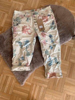 Italy Capri Jeans - CrashLook - Flower - Beige/Color - Größe S 36