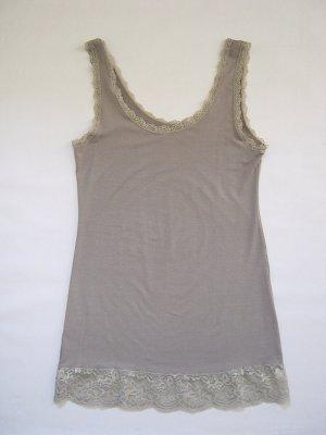 ITALY Damen Trägershirt Shirt mit Spitze Oberteil taupe Gr. 34  XS