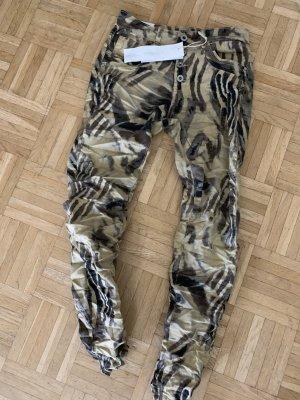 ITALY Jeans Hose - Beige Brown Braun - Größe M 36 38 - Stretch ANIMAL hot! SEXY