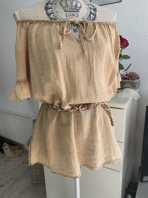 Made in Italy Carmen Blouse sand brown-light brown linen
