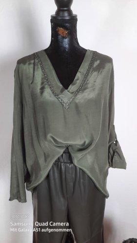 Lindsay Moda Glanzende blouse bos Groen Viscose