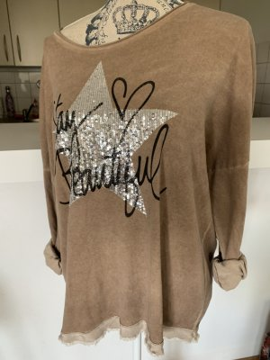 ItalY Pullover/Pulli/Shirt - LightBrown - OneSize - Print!
