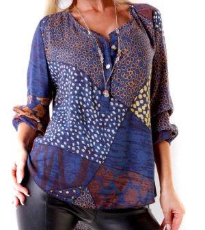 Italy Shirt-Bluse - Leo - Blau/Braun - Größe S/M 34/36 - Leicht