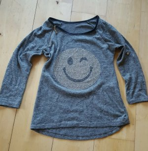 italy shirt braun meliert mit Smily Gr. M