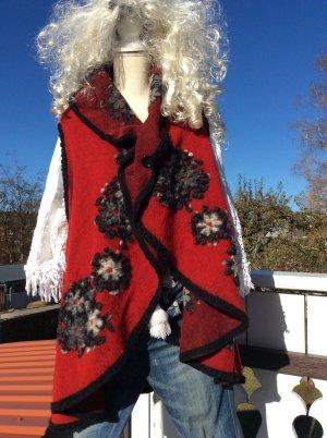 Made in Italy Gilet long tricoté rouge foncé