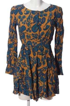Ivana Helsinki Langarmkleid hellorange-blau abstraktes Muster Casual-Look