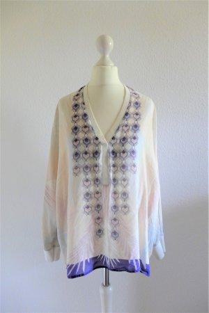 IVI Collection Gatsby Boho Shirt Bluse Seide nude weiß lila Art Deco Gr. 36 S