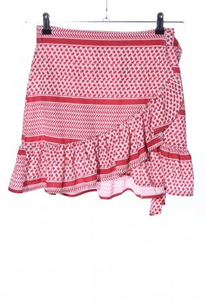 Ivivi Jupe asymétrique rouge-blanc cassé imprimé allover style décontracté