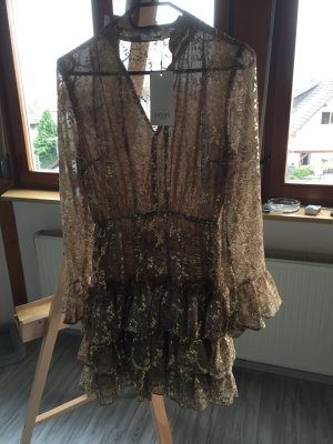 Ivivi Vestido estilo flounce marrón arena-color oro Poliéster