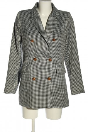 Ivivi Long-Blazer silberfarben-schwarz Karomuster Business-Look