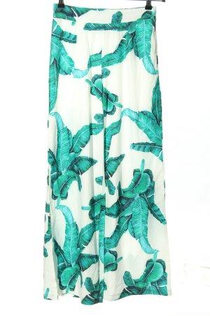 Ivivi Pantalón anchos blanco-turquesa estampado floral elegante