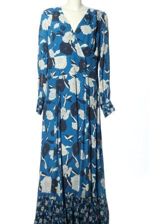 Ivy & Oak Langarmkleid blau-weiß Allover-Druck Elegant
