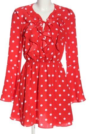 Ivyrevel Abito a maniche lunghe rosso-bianco motivo a pallini stile casual