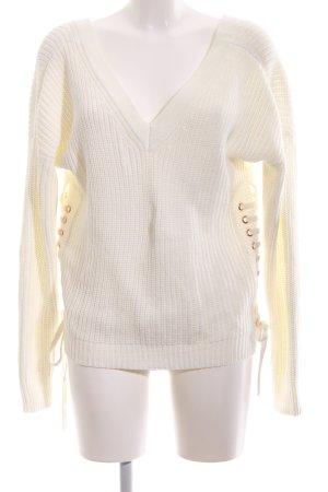 Ivyrevel V-Ausschnitt-Pullover weiß Zopfmuster Casual-Look
