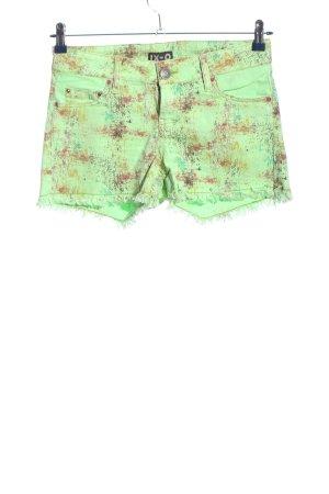 Ix-O Hot Pants grün-braun abstraktes Muster Casual-Look