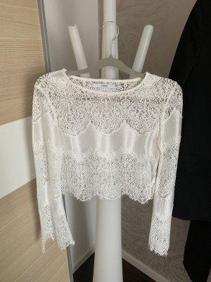 Ivyrevel Blusa de encaje blanco-blanco puro
