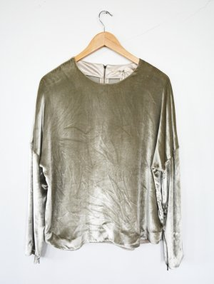 J Brand J.Brand Rommy Samt Top Sweater Pullover Top Silber Neu M