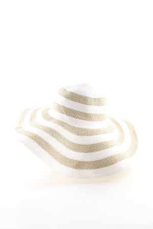 Straw Hat white-cream striped pattern casual look