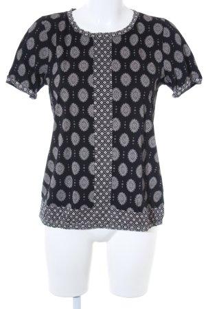 J.crew Kurzarm-Bluse schwarz-creme abstraktes Muster Elegant