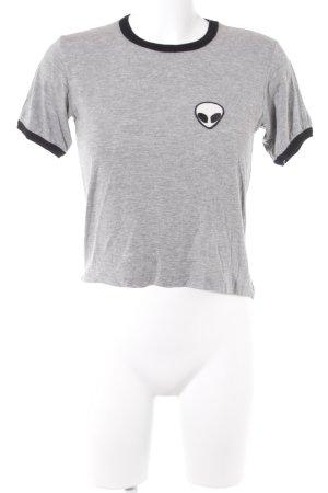 J. Galt T-Shirt hellgrau-schwarz