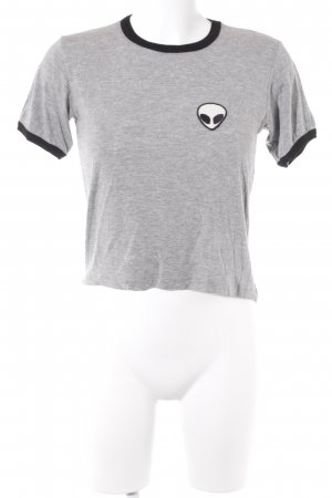 J. Galt T-Shirt hellgrau-schwarz Skater-Look