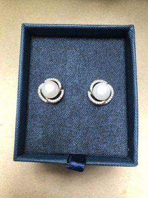 Pendientes de perlas blanco-color plata