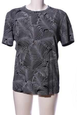 Jack & Jones Kurzarm-Bluse schwarz-weiß abstraktes Muster Casual-Look