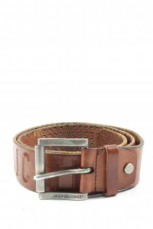 Jack & Jones Leather Belt brown embroidered lettering casual look