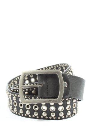 Jack & Jones Cinturón de cuero de imitación negro-color plata look casual