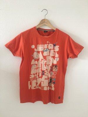 Jack & Jones m Medium 38 boyfriend Shirt lässig weit Oberteil Top halbarm orange beige blau Druck Print cool