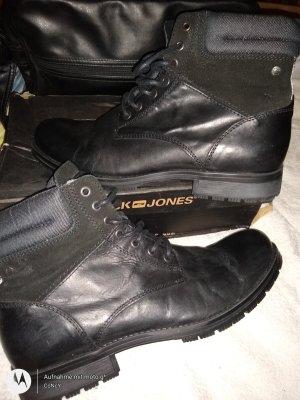 Jack & Jones Biker Boots black leather