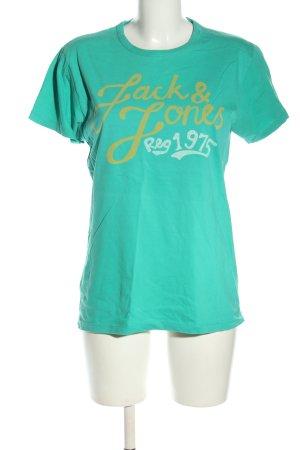 Jack & Jones T-Shirt türkis Schriftzug gedruckt Casual-Look