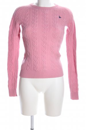 Jack Wills Wollpullover pink Zopfmuster Casual-Look