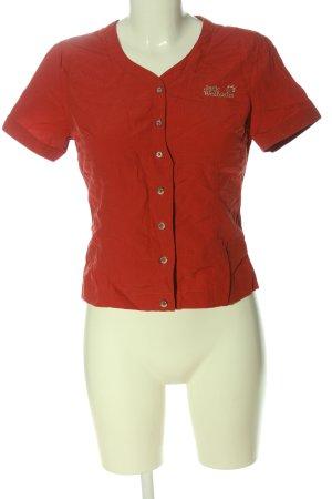 Jack Wolfskin Hemd-Bluse rot-grün Schriftzug gedruckt Casual-Look