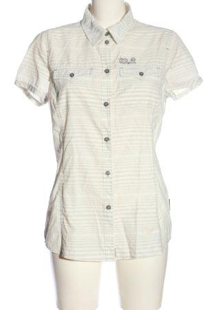 Jack Wolfskin Hemd-Bluse weiß-hellgrau Streifenmuster Casual-Look