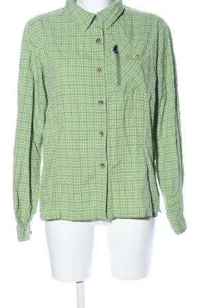 Jack Wolfskin Hemd-Bluse grün-weiß Karomuster Casual-Look