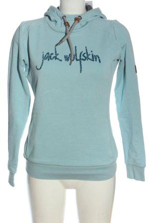 Jack Wolfskin Kapuzensweatshirt türkis Schriftzug gedruckt Casual-Look