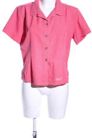 Jack Wolfskin Kurzarm-Bluse pink Karomuster Casual-Look