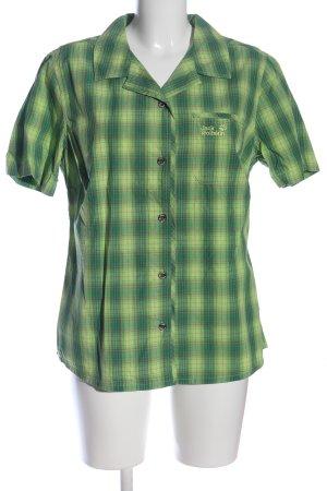 Jack Wolfskin Short Sleeve Shirt green-light grey check pattern casual look