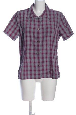 Jack Wolfskin Short Sleeve Shirt light grey-pink check pattern casual look
