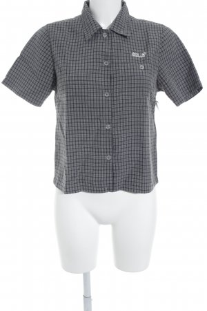 Jack Wolfskin Kurzarmhemd weiß-dunkelblau Karomuster Casual-Look