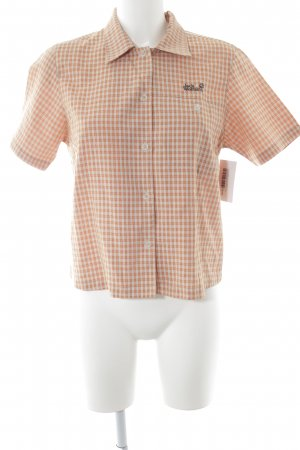 Jack Wolfskin Kurzarmhemd wollweiß-dunkelorange Karomuster sportlicher Stil