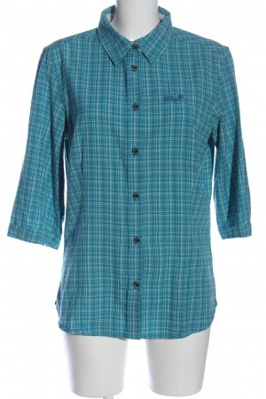Jack Wolfskin Long Sleeve Shirt blue-white check pattern casual look